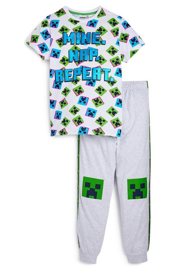 Older Boy White Minecraft Pyjama Set