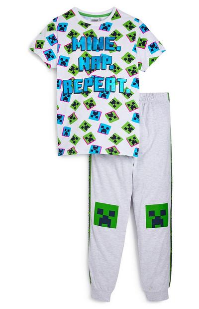 Older Boy White Minecraft Pyjama Set