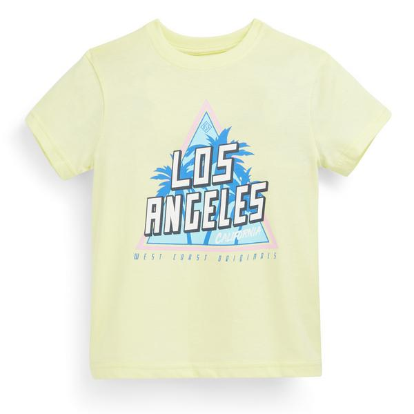 T-shirt gialla con stampa da bambino