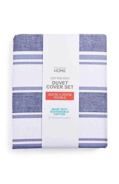 Blue Traditional Stripe Double Duvet Cover Set
