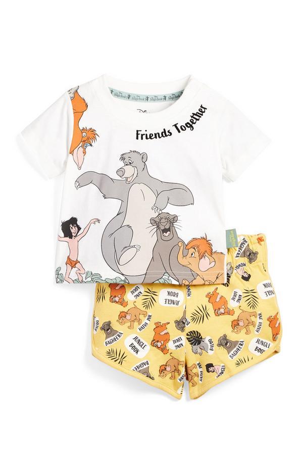 T-shirt e shorts da bimbo con fantasia Il libro della giungla