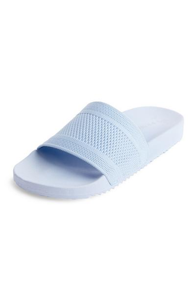 Powder Blue Knit Slides
