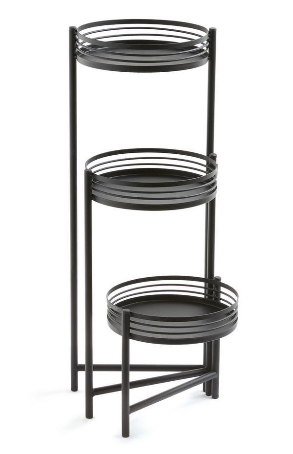 Support noir pour plantes à 3 niveaux