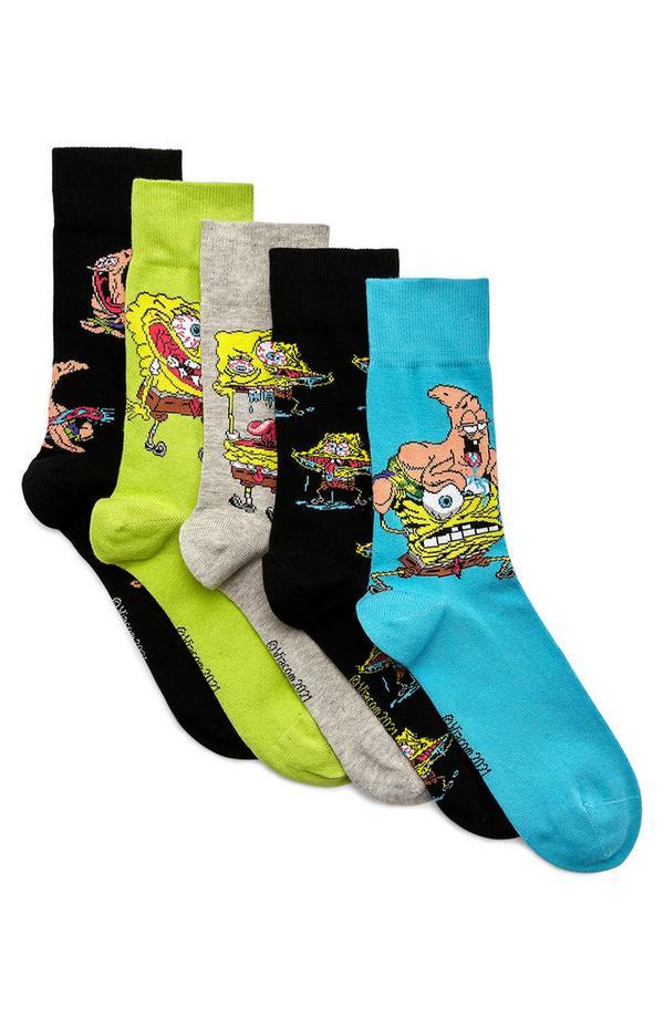 Pack de 5 pares de calcetines con estampado de Bob Esponja y sus amigos marinos