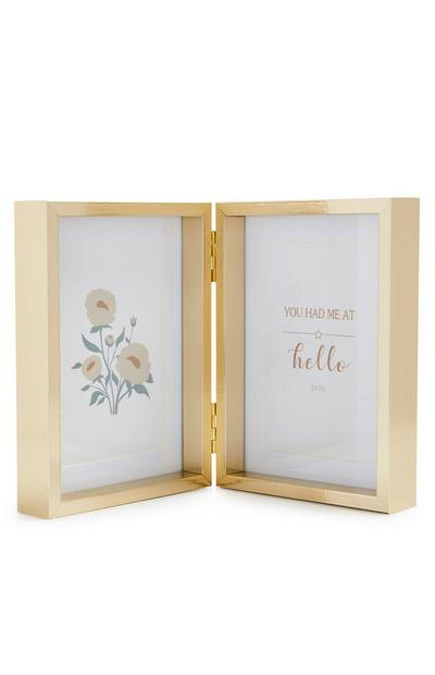 Goldtone Double Hinged Photo Frame
