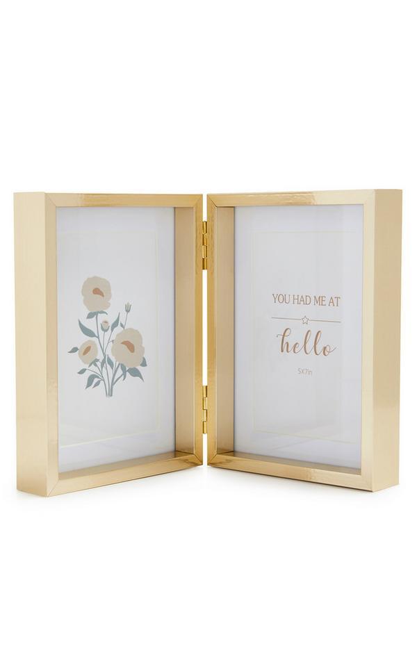 Cornice portafoto doppia color oro con cerniera