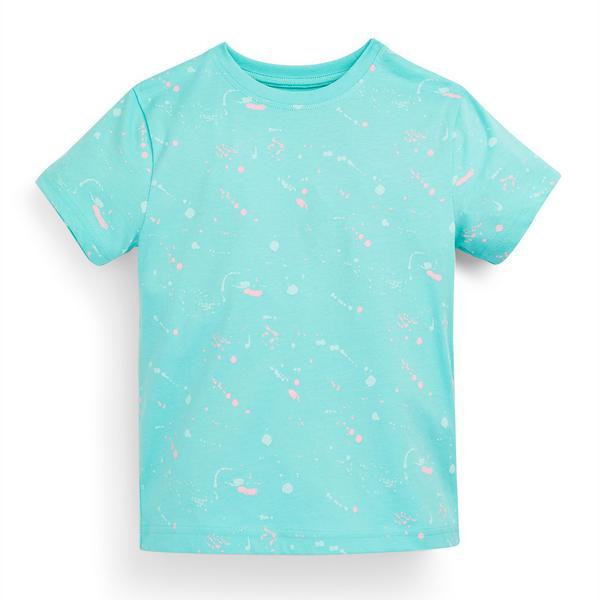 Camiseta turquesa con estampado abstracto para niño pequeño