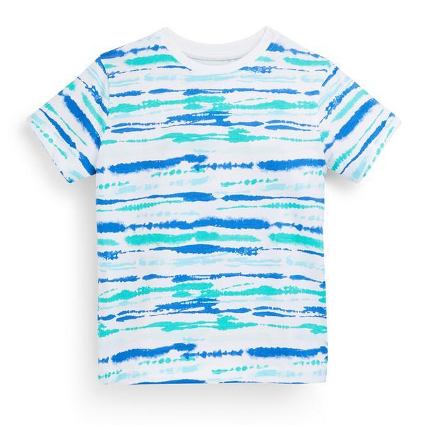 Camiseta azul a rayas abstractas para niño pequeño