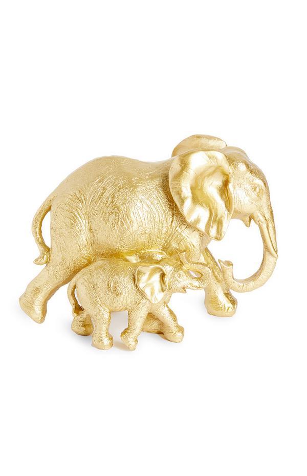 Soprammobile color oro a forma di elefante