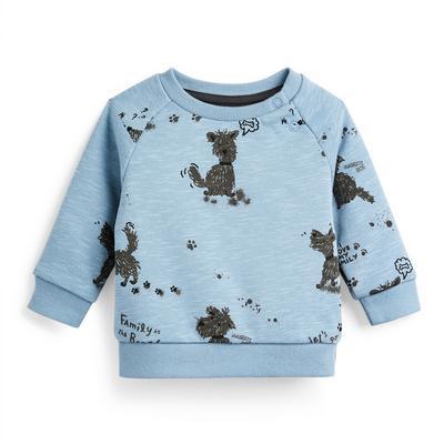 Baby Boy Blue Dog Print Crew Neck Sweater