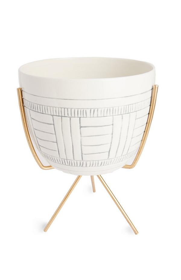 White Etched Plant Pot On Goldtone Stand