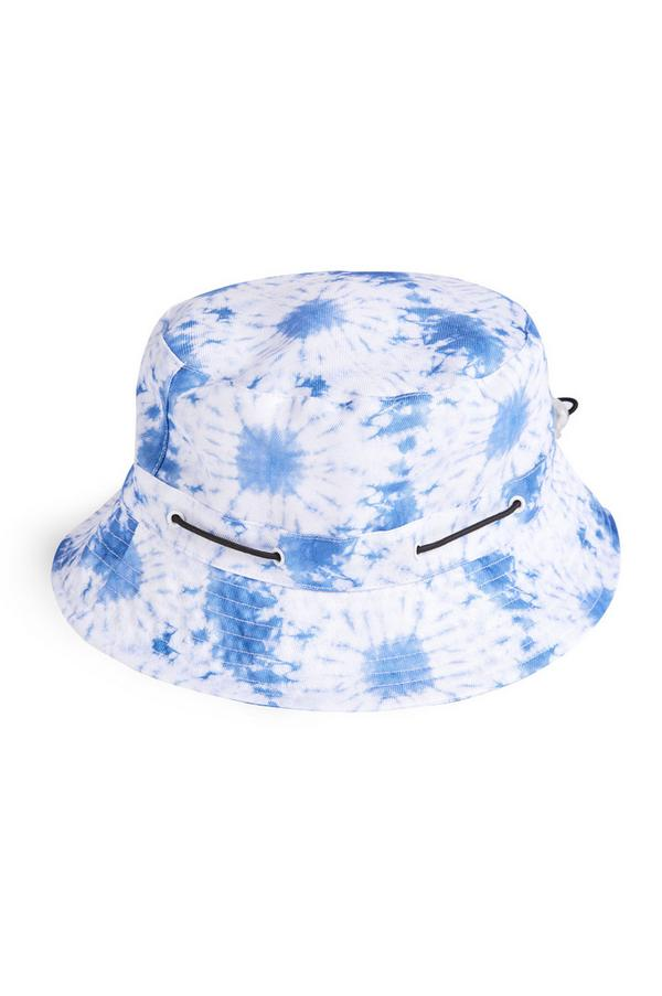 Gorro de pescador azul con estampado tie-dye