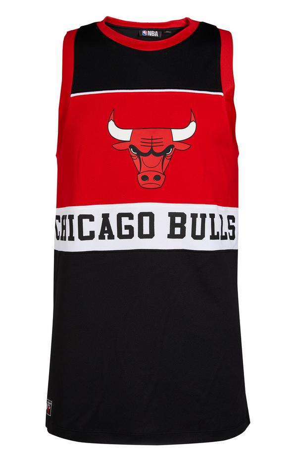 "Schwarz-rotes ""NBA Chicago Bulls"" Trägerhemd"
