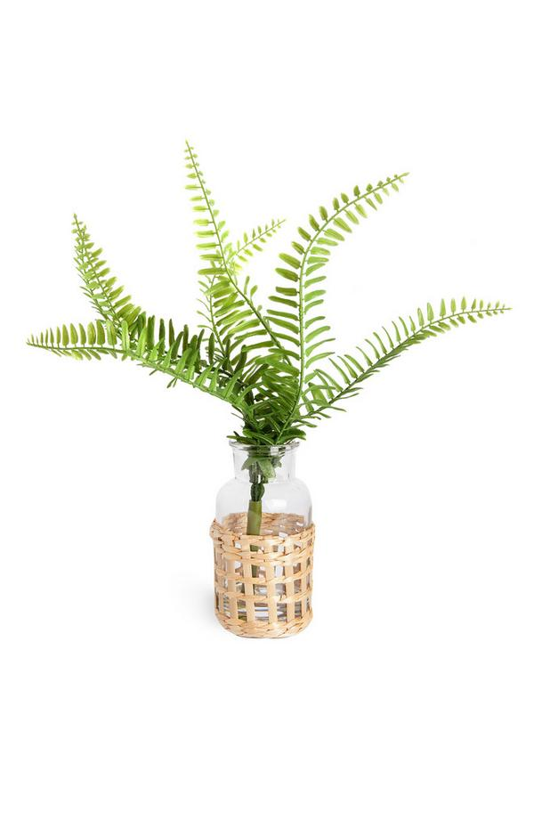 Faux Fern Plant In Rattan And Glass Vase