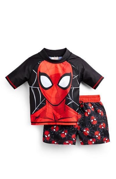 Črn kopalni komplet za Spiderman za mlajše fante