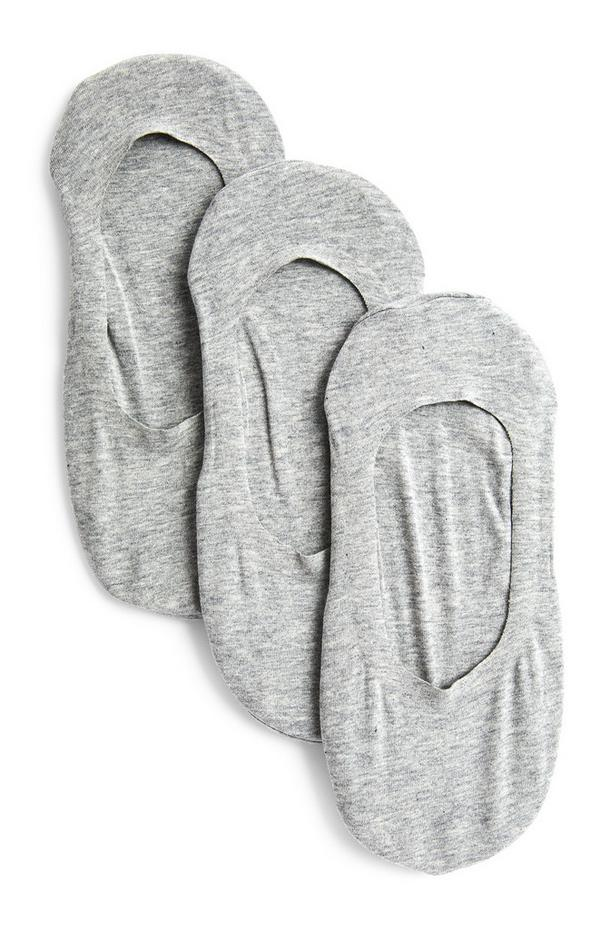Pack de 3 pares de calcetines invisibles grises cortados con láser