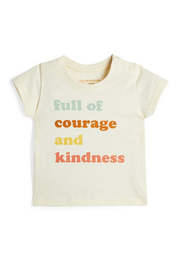 Krem dekliška majica s kratkimi rokavi z napisom za dojenčke
