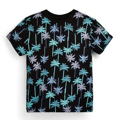 T-shirt noir à imprimés palmiers garçon