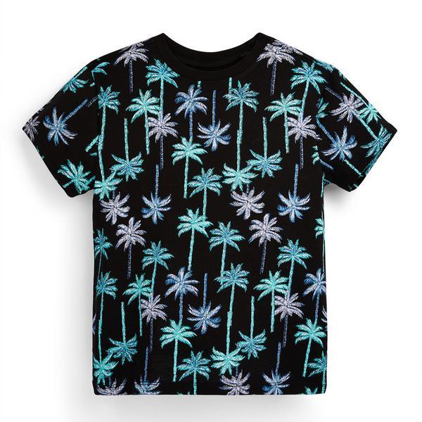 T-shirt nera con stampa palme da bambino