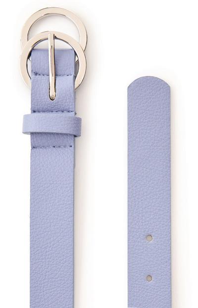 Cinto fivela sobreposta mini símbolo infinito azul-pálido