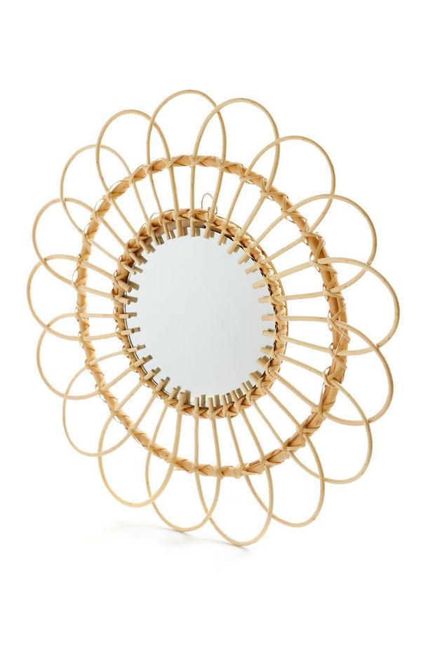 Specchio con cornice in vimini grande