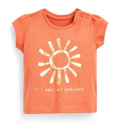 T-shirt estampado efeito alumínio menina bebé cor de laranja