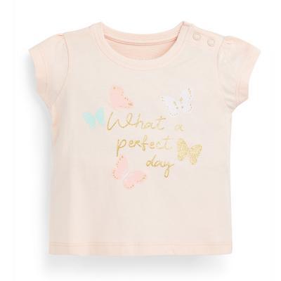 T-shirt estampada brilho menina bebé rosa-pálido
