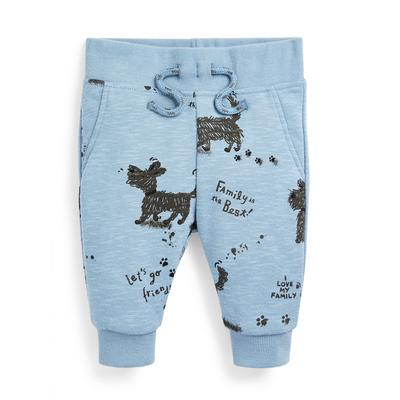 Baby Boy Blue Family Dog Print Joggers