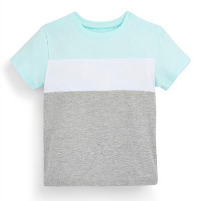 T-shirt met grijze en mintgroene kleurvlakken voor jongens