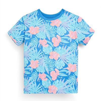 Blauw T-shirt met bladerprint voor jongens