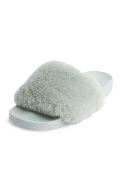 Mint Faux Fur Slides