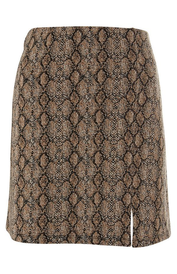 Animal Print Side Split Mini Skirt