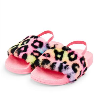 Younger Girl Pink Faux Fur Leopard Print Sliders