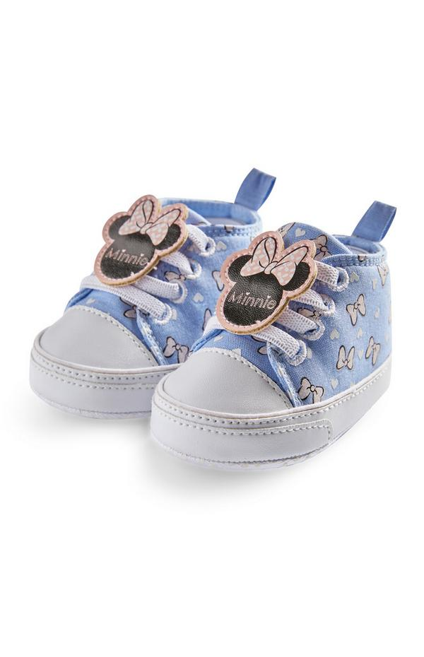 Baby Girl Blue Disney Minnie Mouse Chambray High Top Trainers