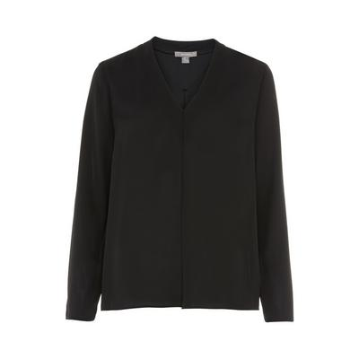 Black Pleated Front Blouse