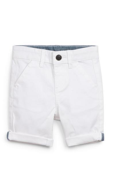 Pantalón corto chino blanco para bebé niño