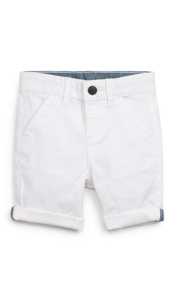 Bele fantovske kratke hlače chino za dojenčke