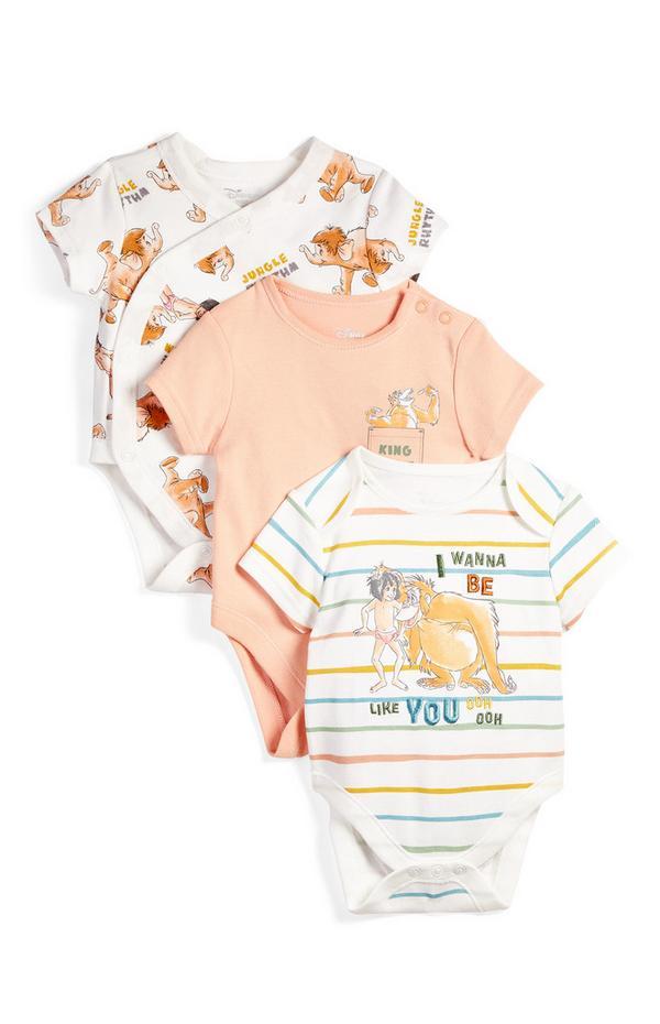 Newborn Baby Jungle Book Print Shortsleeve Bodysuit 3 Pack