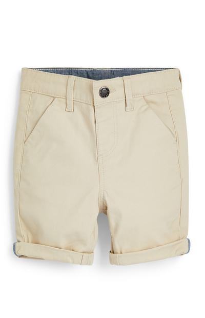 Krem fantovske kratke hlače chino za dojenčke
