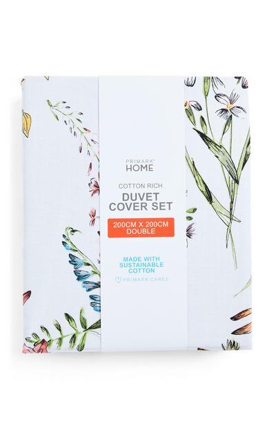 Komplet prevlek za prešito odejo za zakonsko posteljo s cvetličnim vzorcem divjega vrta