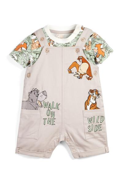 Baby Jungle Book Print T-Shirt And Dungarees Set