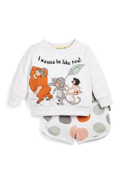 Baby Grey Jungle Book Print Crew Neck Sweater And Shorts Set