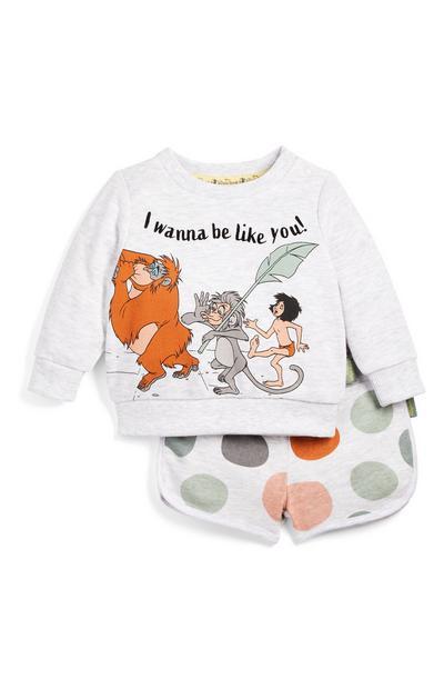 Conjunto gris de sudadera con cuello redondo y pantalones cortos con estampado del Libro de la Selva para bebé