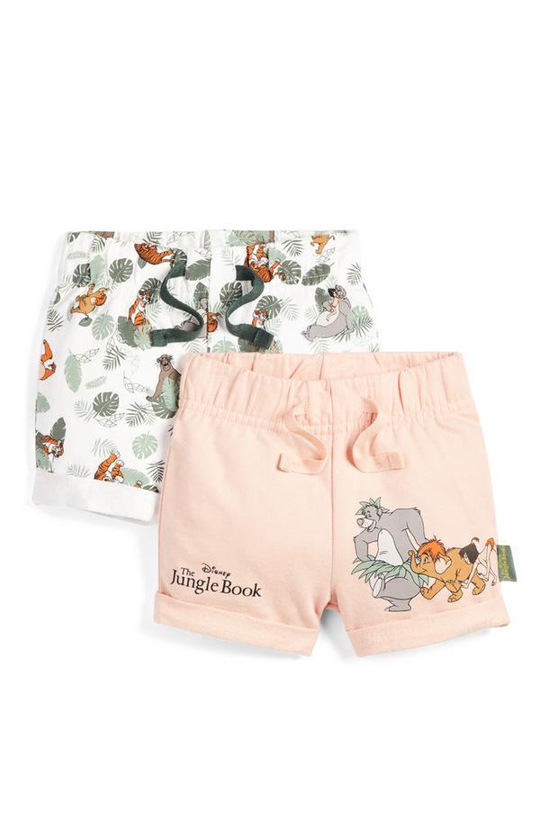 Pack de 2 pantalones cortos estampados del Libro de la Selva para bebé