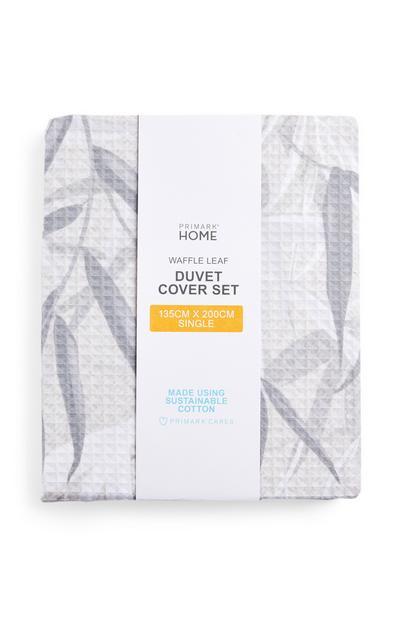 Grey Waffle Leaf Print Single Duvet Cover Set