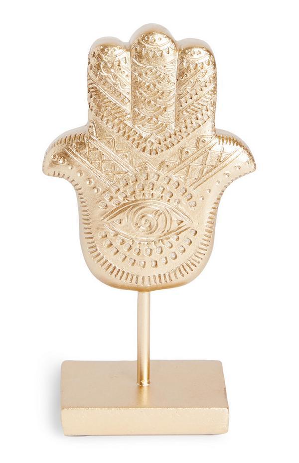Goldtone Standing Palm Hand Ornament