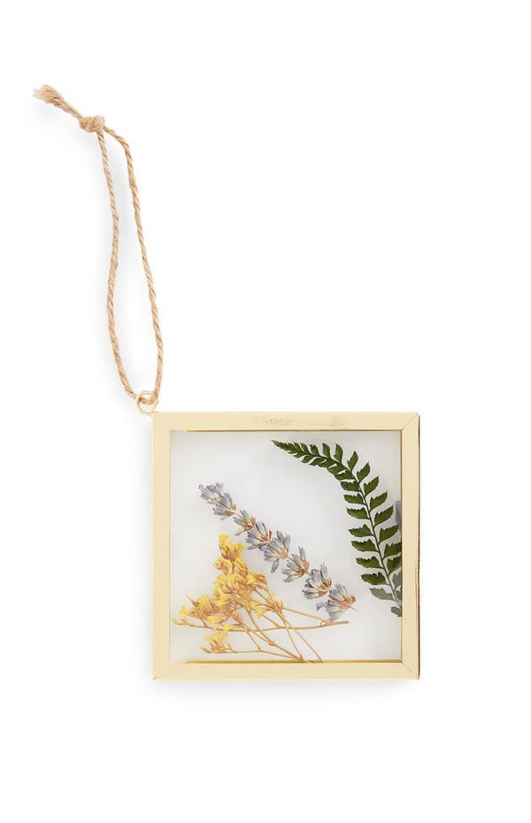 Cornice color oro da appendere con fiori pressati piccola