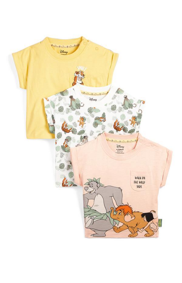 Pack de 3 camisetas de manga corta con estampado del Libro de la Selva para bebé