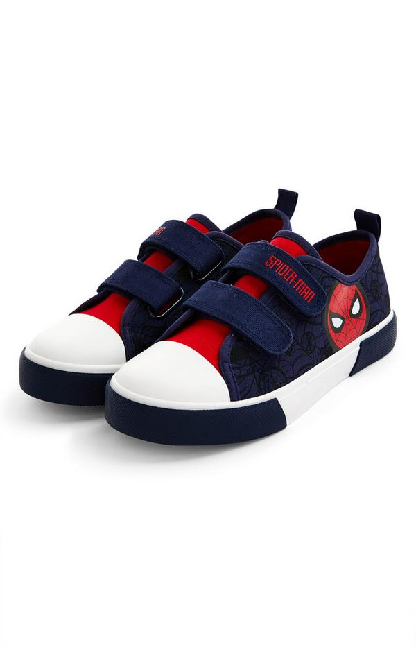 Younger Boy Navy Spiderman Canvas Trainers