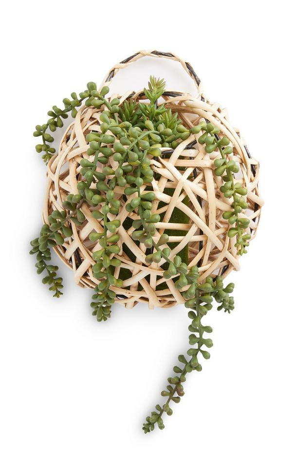 Hangende ronde rotan plantenpot